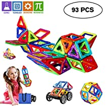 Magnetic Blocks Building Set, Magnetic Tiles Educational Toys for Boys/Girls (93Pcs)