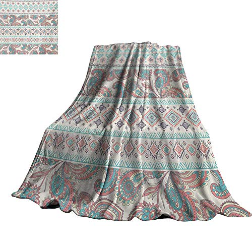 RenteriaDecor Tribal,Baby Blanket Paisley Patterns in Native Aztec in Mixed Pattern Floral Ethnic Design Plush Microfiber Blanket 90
