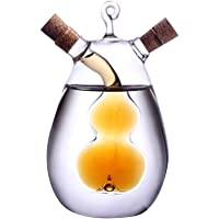 UPKOCH 2'si 1 arada cam yağı ve sirke şişesi, zeytin yağı sebili şişesi, mantar kapaklı sirke bardağı