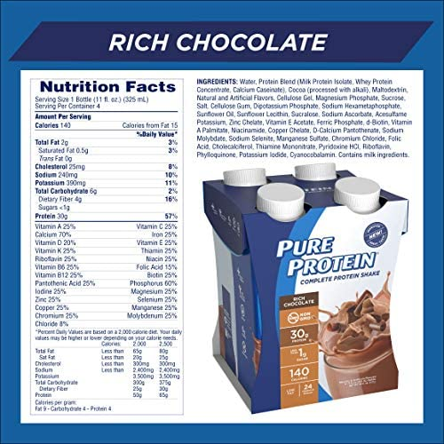 Pure Protein, Complete Protein Ready to Drink Chocolate Shake, 30g Whey Protein, Snack, With Vitamin A, Vitamin C, Vitamin D, and Zinc to Support Immune Health, 11oz, Pack of 12 3