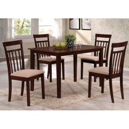 Samuel 5-Piece Dining Set, Espresso, Rectangular leg table, solid top (Macys Outdoor Dining Sets)