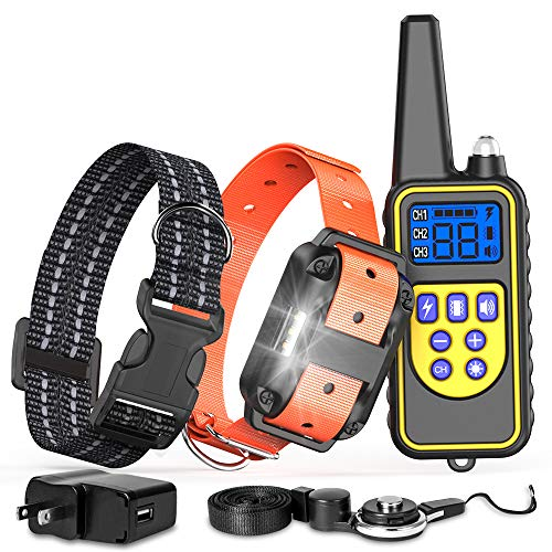 FunniPets Dog Training Collar with Remote, Waterproof Dog Shock Collar 2600ft Control Range Rechargeable Shock Collar…