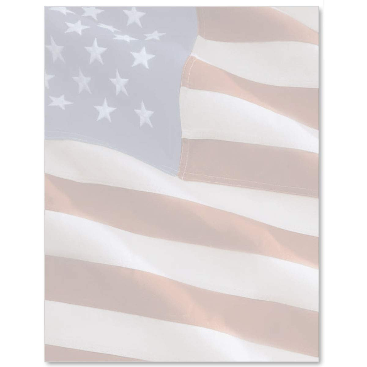 American Standard Patriotic Flag Letter Paper, 8.5 x 11 inches, 100 Count, 24lb Stock Paper, Laser and Inkjet Compatible