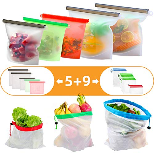 14 Pack Reusable storage Bag - Silicone Food Bags(3 Medium & 2 Large) - Produce Mesh Bags(2 Small &5 Medium & 2 Large) for Sandwich/Snack/Lunch/Fruit, Leakproof, Microwave Freezer, Maintain Freshness