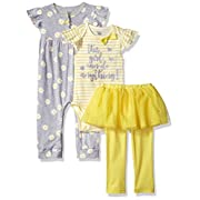Gerber Baby Girls 3 Piece Coverall Bodysuit and Tutu Legging Set, Daisies, 6-9 Months