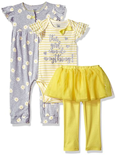 Girls Clothes Set (Gerber Baby Girls 3 Piece Coverall Bodysuit and Tutu Legging Set, Daisies, 3-6 Months)