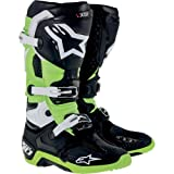 Alpinestars Tech 10 Boots , Primary Color: Green, Size: 13, Distinct Name: Black/Green, Gender: Mens/Unisex 20100141613
