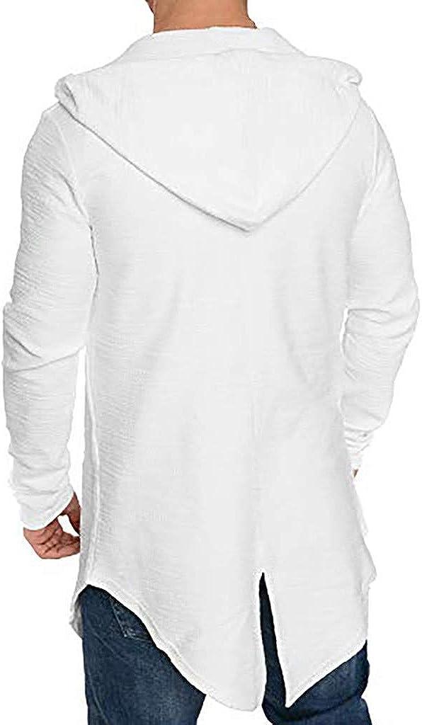 Slim Fit Winter Fashion Casual Trench Coat Long Sleeve Outwear Jacket OMINA Mens Long Cardigan Sweatshirt Hoodie
