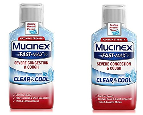 Mucinex Fast-Max Severe Congestion & Cough Liquid, Clear & Cool, 6 Fl Oz (Pack of 2)