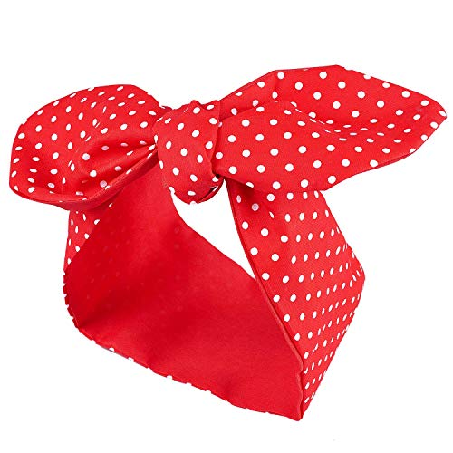Polka Dot Bandana (Red Bow Cotton Headband Red Polka Dot Headband Retro Bowknot Headband Double Wide Headwrap for Women and)