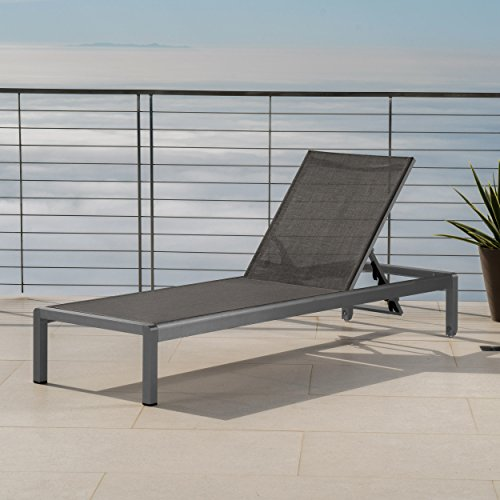 Lounge Chairs Mesh (Crested Bay Patio Furniture | Outdoor Grey Aluminum Chaise Lounge with Dark Grey Mesh Seat)