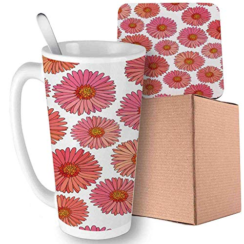 - Aster,Pink Blooms Flower Field Essence Fragrance Mother Nature Tropical Flourish, Pink Coral White - 副本 Ceramic Cup with Spoon & Coaster Creative Milk Coffee Tea Unique Porcelain Cup Mug 16oz