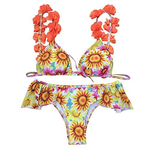ZOMUSA Clearance Sale! Women Swimwear, Women Floral Print Push-up Padded Ruffles Bra Swimsuit Beachwear Bikini Set (S, Orange)
