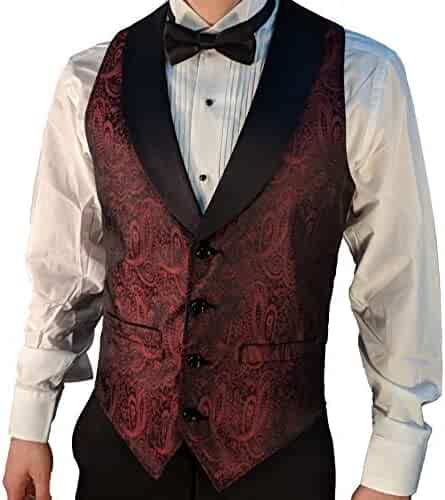 10e503f8acae Men's Burgundy Paisley Tuxedo Vest with Black Lapel and Black Bow Tie Set