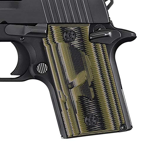 Cool Hand G10 Grips for Sig Sauer P938, Free Screws Included, Punisher Skull Texture, Army Green -