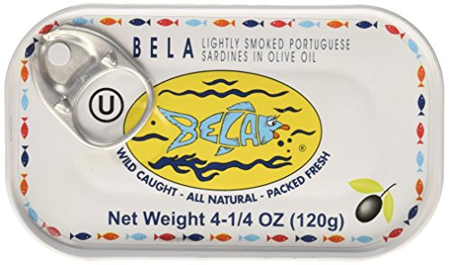 Olive Oil Case (Bela-Olhao Lightly Smoked Sardines in Olive Oil, 4.25 Ounce -- 12 per case)