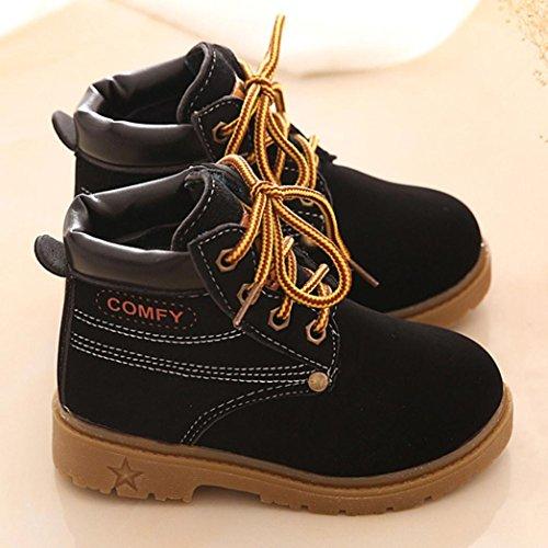 JIANGFU Kinder Winterstiefel warmer Stiefel Martin Stiefel Sehne am Ende von England,Winter Baby Child Army Style Martin Boot Warm Shoes (23, BK)