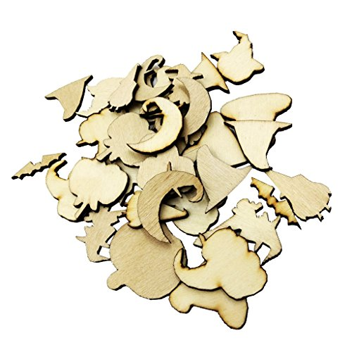 (MagiDeal 50 Pieces Halloween Wooden Shapes Craft Scrapbooking MDF Cut Wood Gift)