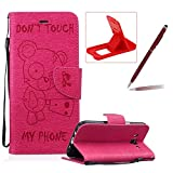Case For Samsung Galaxy J5 2016 J510,Smart Case for Samsung Galaxy J5 2016 J510,Herzzer Stylish Cute Bear Don't Touch My Phone Design PU Leather Wallet Case Stand Flip Case with Credit Card Slot for Samsung Galaxy J5 2016 J510,Hot Pink