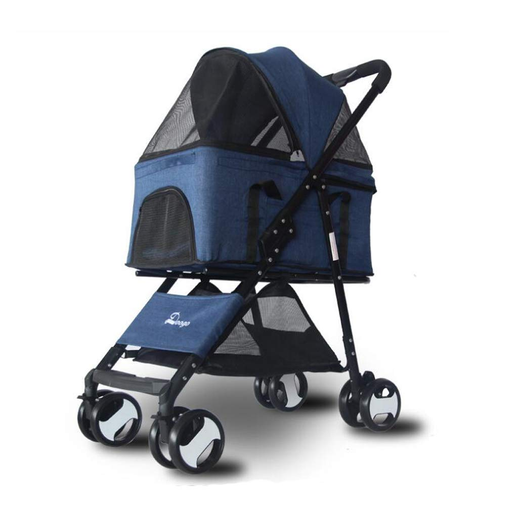 bluee PLDDY Pet Bag Pet stroller, detachable, foldable, lightweight material, small and medium dogs and cats Pet Bicycles (color   bluee)