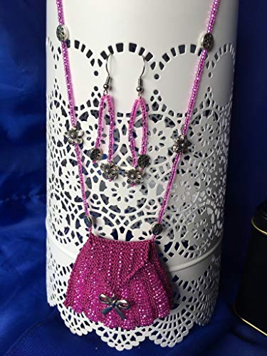 Bright Pink Beaded Knit Amulet Necklace and matching Earrings, in Gift Tin
