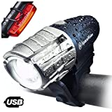 Eagle Eye USB Rechargeable Bike Light Set by Apace – Powerful 300 Lumens LED Bicycle Headlight & Tail Light – Super Bright Front Light & Rear Light for Cycling Safety (Blue-Silver, Premium Gift Box)