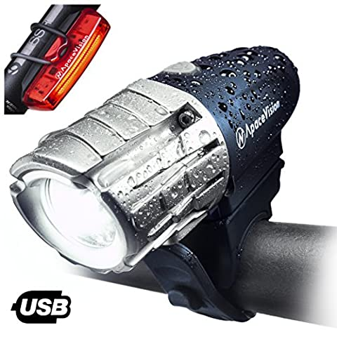 Apace EAGLE EYE-X USB Rechargeable Bike Light Set – POWERFUL 300 Lumens LED Bicycle Headlight and Tail Light- Super Bright Front Light & Rear Light for Optimum Cycling (White Ion Speaker)