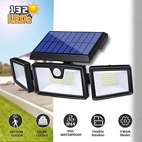 Yoophane Solar Security Light with Motion Sensor, 132 LED Solar Flood Lights Outdoor, 3 Heads Solar Motion Lights IP65 Waterproof Outside Lights for Porch Garden Patio Yard Garage Pathway