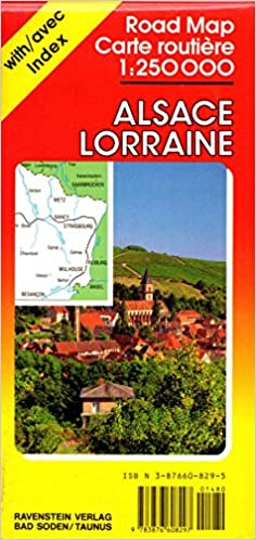 Alsace Lorraine Road Map 1250 000 with Index Ravenstein Verlag