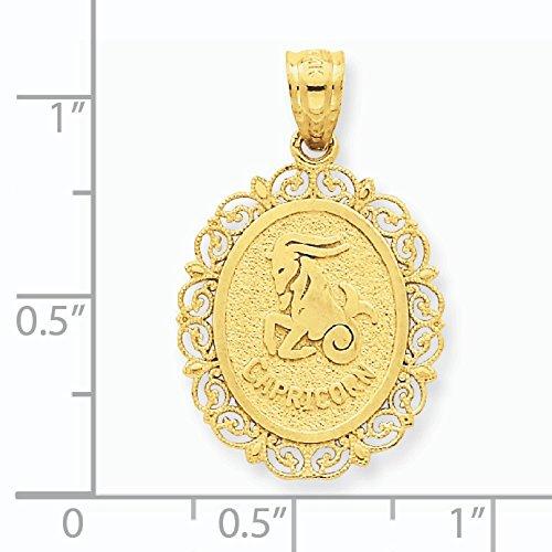Satiné poli Massif 14 Carats Pendentif Zodiaque Capricorne ovale-Dimensions :  27,5 x 17,3-JewelryWeb mm