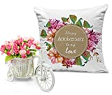 TiedRibbons Printed Cushion(12 inch X 12 inch) with Artificial Peonies Bunch and Cycle Vase | Marriage Anniversary gift for Men | Anniversary gift for Him | Anniversary gift for Her | Wedding Anniversary gift for Wife