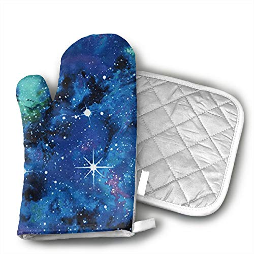 Jiqnajn6 Out of This World Galaxy Oven Mitts with Quilted Cotton Lining - Heat Resistant Kitchen Gloves, Matching Mini Oven Mitts