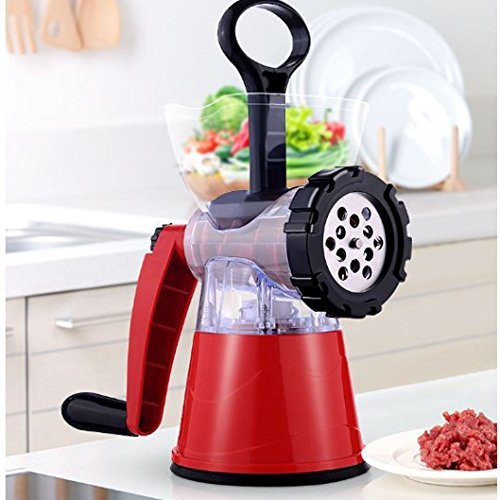 Meat Grinder Hand Crank Manual Mincer With Powerful Suction Base - Essential Kitchen Tool To Grind Fish Vegetables Garlic And Fruits - Dessert Maker Sausage Stuffer Funnel (Ginger Sausage)