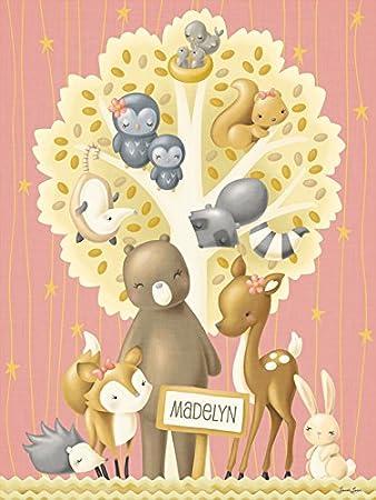 Amazon.com : Oopsy daisy The Animal Tree - Girl Canvas Wall Art by ...