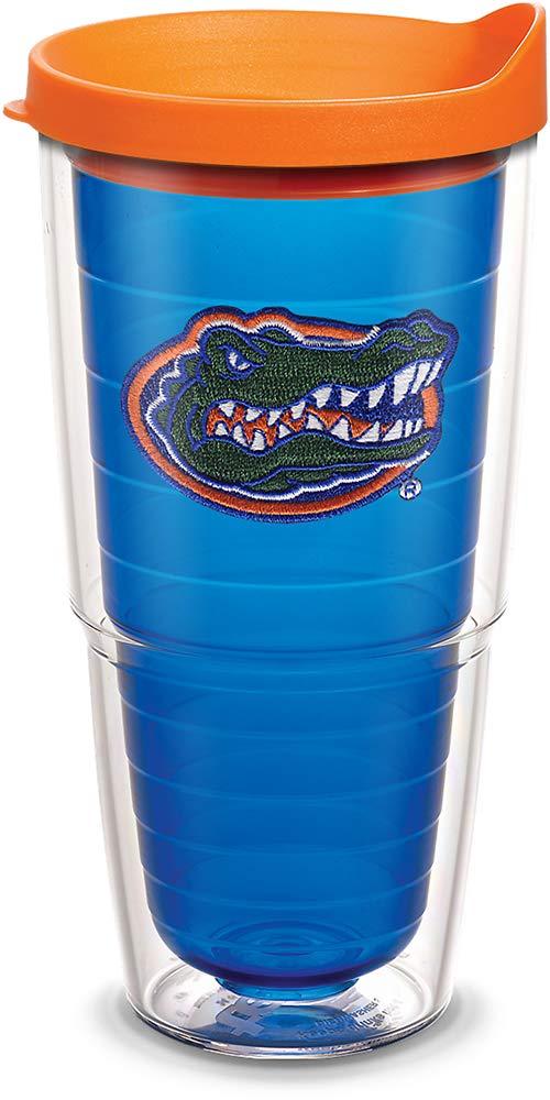 Tervis 1055475 Florida Gators Gator Tumbler with Emblem and Orange Lid 24oz, Blue