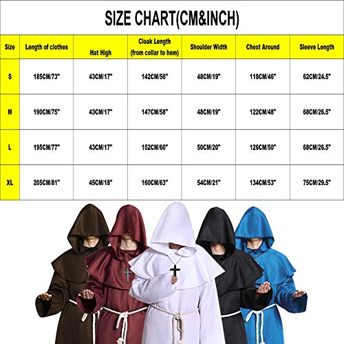 Halloween Costumes Medieval Priest Robes Monk Robe Hooded Cape Cloak for  Wizard Sorcerer Pastor Outfit b2e76c6b3