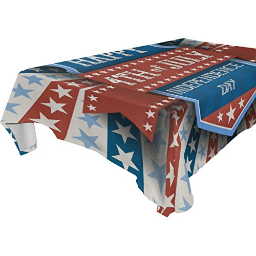 Happy 4Th of July Patriotic Independence Day 100% Polyester Tablecloth Table Cover for Dinner Parties Picnic Kitchen Home Decor, -