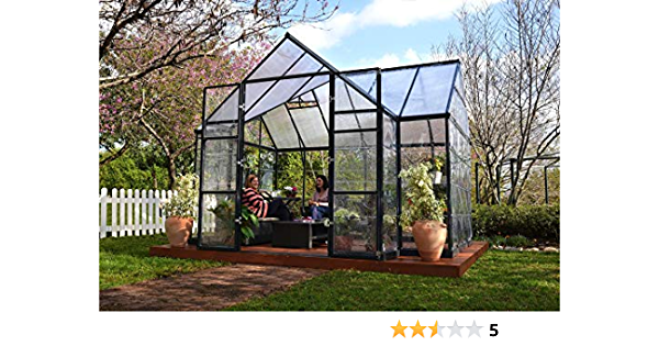Palram 702422 12 x 10 FT Victoria Orangerie Invernadero y Sun Lounge – Gris Oscuro