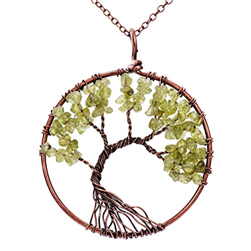 Handmade Family Root Tree of Life Natural Raw Tumbled Semi Precious Peridot Stone quartz Pendant Necklace Healing Wire Wrapped Gemstone Birth Stone Necklaces Jewelry for Women - Peridot Raw