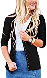 Steven McQueen Women's S-3XL Solid Button Front Knitwears 3/4 Sleeve Casual Cardigans Black 2XL