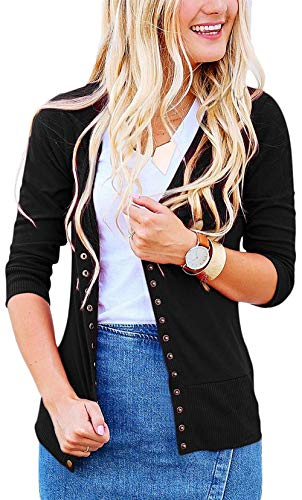 Women's S-3XL Solid Button Front Knitwears 3/4 Sleeve Casual Cardigans Black L (Sleeve Cardigan 3/4 V-neck)