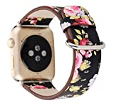 Pantheon Designer Leather Apple Watch Band for Women, 38mm and 42mm sizes, Over 30 Luxury iWatch Strap Options for Series 3, 2, 1, or Nike+ Edition, (Flower - Black and Red Flowers, 42mm)