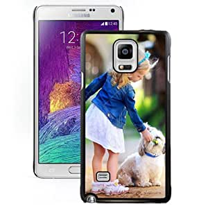 New Fashion Custom Designed Skin Case For Samsung Galaxy Note 4 N910A N910T N910P N910V N910R4 Phone Case With Little Girl and Puppy Phone Case Cover