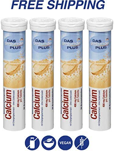 Calcium effervescent Tablets - Dietary Supplements 4 Packs x 20 pcs, Das gesunde PLUS/Germany