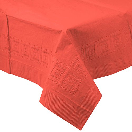 713146B 54'' x 108'' Coral Orange Tissue / Poly Table Cover - 24/Case By TableTop King by TableTop King