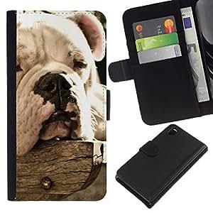 All Phone Most Case / Oferta Especial Cáscara Funda de cuero Monedero Cubierta de proteccion Caso / Wallet Case for Sony Xperia Z3 D6603 // Bulldog Sleepy Dog Vignette Summer