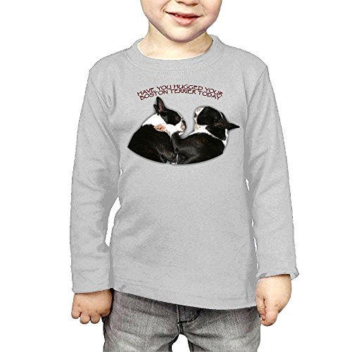ZheuO Boys & Girls Toddler Have You Hugged Your Boston Terrier Today Soft and Cozy 100% Cotton T-Shirts Unisex Gray 5-6 Toddler