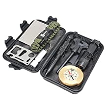 10 in 1 Wild Survival Kit Briefcase Outdoor Emergency Tools EDC with Fire Starter Flashlight Whistle Paracord Bracelet Unbreakable Signal Mirror by Boshiho
