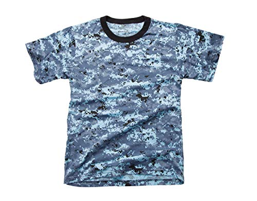 BACKBONE Mens Army Military Training Outdoor Boot Camp Running Short Sleeve Tee T-Shirt (Sky Blue Digital Camo, Medium)