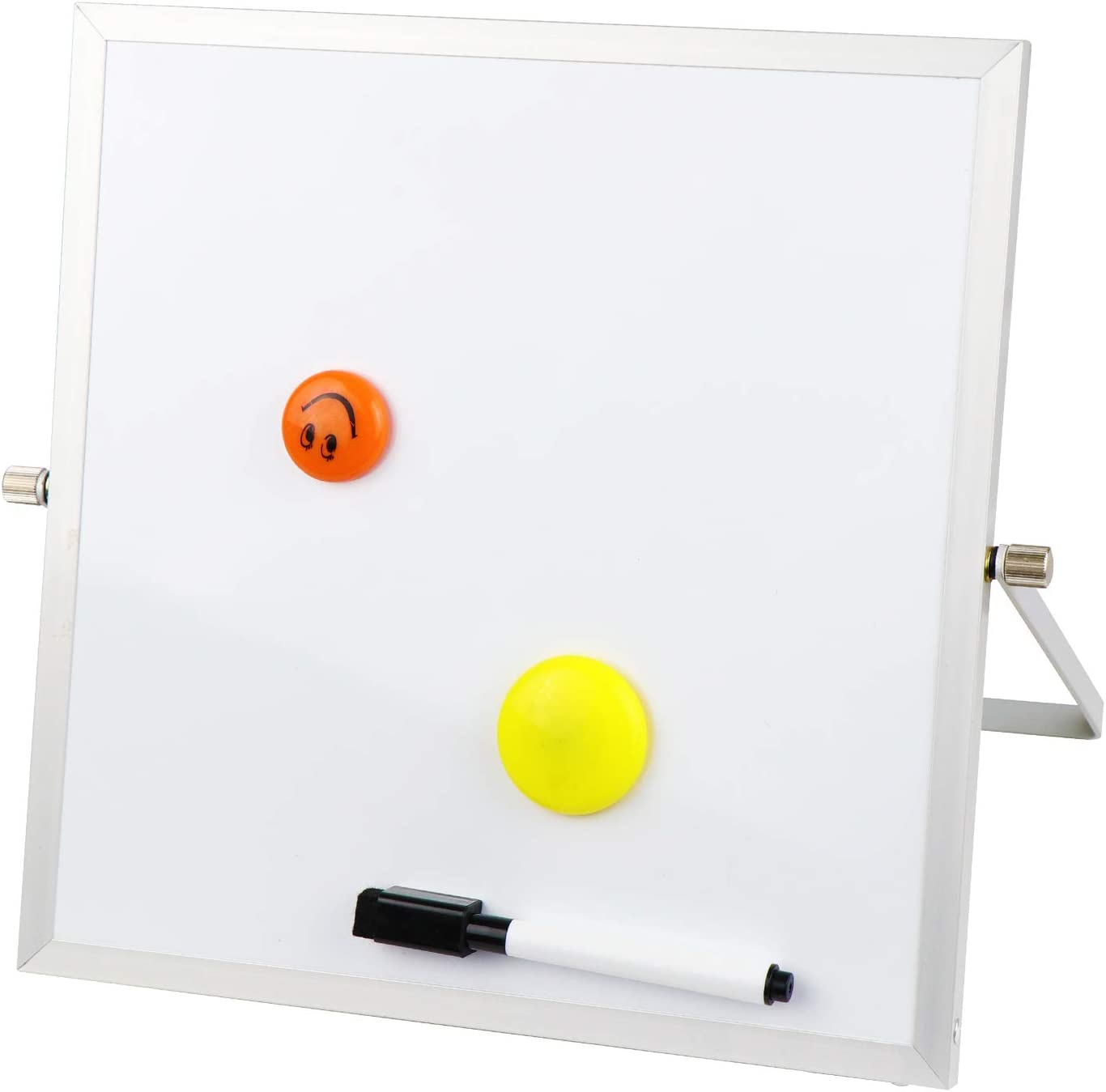 """Small Dry Erase Board 10x10"""" - Portable Mini Desktop to Do List Notepad, Magnetic White Board Easel for Office, Home, School, Locker, Kids Drawing"""